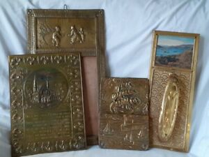 JOBLOT OF OLD BRASS WALL PLAQUES MIRROR, BRUSH, MOTTO, LETTER RACK