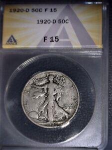 1920-D Walking Liberty Half Dollar, ANACS F15. Tough Date, Issue Free