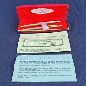 Vintage Centennial Ball Point Pen and Mechanical Pencil Set Gold Tone Red Box