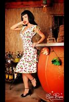 NWT Pinup Couture Anna White Cherry Sundress X-Small XS Rockabilly 50s Cherries