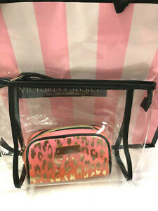 Victoria's Secret Clear Coral Pink Leopard & Gold Cosmetic Bag & Clear 2 pc set