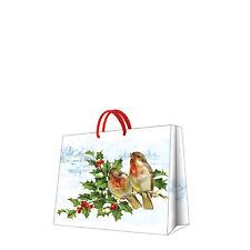 Christmas Printed Paper Gift Present Bag WINTER BULLFINCH Small Horizontal / D