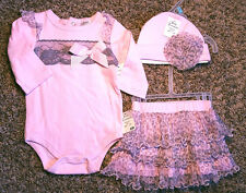 NWT Girl's Size 6 M 3-6 Months 3 Piece Pink Gray Animal Print Tulle Top, Skirt +