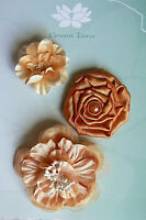 Flowers - 3  LATTE Mixed Designs Pack Fabric 3.5-5 cm across Green Tara Box E