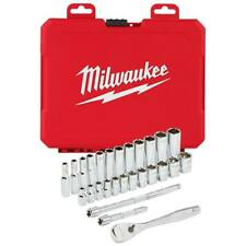 Milwaukee 48-22-9504 1/4 pulgadas trinquete DRIVE métrica durable y Socket Set - 28pc