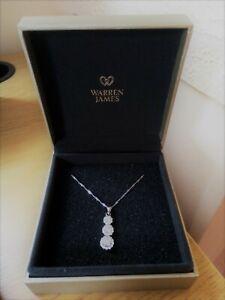 Warren James silver crystal cluster necklace pendant