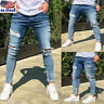 Men's Stretch Ripped Skinny Jeans Distressed Frayed Slim Fit Biker Denim Pants