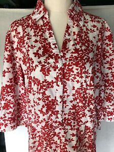 The Clothing Company Red White Patterned Dress 3/4 length sleeve Size 16