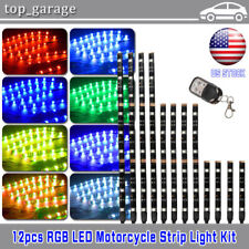12pcs Motorcycle ATV RGB LED Neon Under Glow Light Strip Kit For Harley Davidson