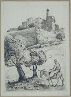 JACOB EISENBERG SIGNED Etching Jerusalem