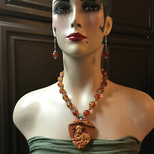 Hand Carved Red Malchinite Bull Dog Pendant Necklace Set with Carnelian beads.