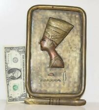 Embossed Brass Egyptian Nefertiti wall plaque