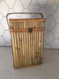 Bamboo Wine Bottle Holder Tote Basket 2 Bottle Carrier W/ Handle