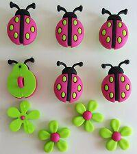 LADYBUG CROSSING - Flower Pink Ladybird Nature Garden Dress It Up Craft Buttons