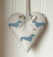 Emily Bond Blue Dachshund Lavender heart  Laura Ashley  linen   MOTHERS DAY