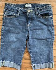 Jolt Girls' Size 12 Blue Denim Shorts Knee Length Embroidered Back Pockets Euc