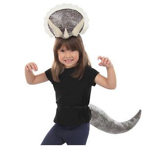 Triceratops Dinosaur Halloween Costume Adult Child Horn Headband Plush Tail