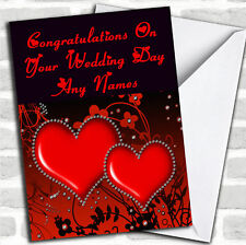 Red Diamond Heart Romantic Wedding Day Customised Card