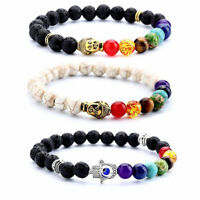 8mm Lava 7 Chakra Healing Natural Stone Buddha Beads Hand Bracelet For Women Men
