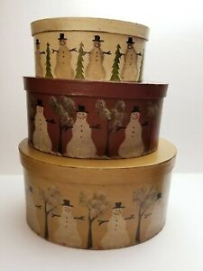 """Primitive Oval Nesting Boxes, Stacking SNOWMAN Rustic (10""""x 5""""large box) Vintage"""