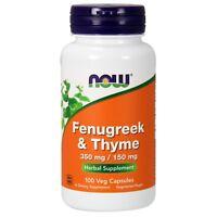 NOW Foods Fenugreek & Thyme, 350 mg/150 mg, 100 Veg Capsules