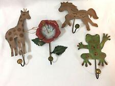 Decorative Wall Hooks Wall Mounted Art Flower Horse Frog Giraffe Metal Ornaments