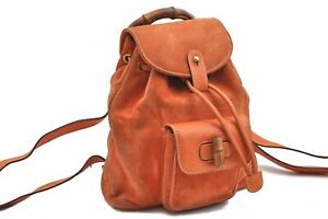 Authentic GUCCI Bamboo Backpack Suede Leather Orange A8040