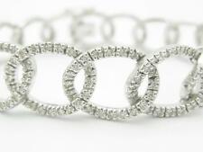 14k White Gold & Diamonds Solid Open Link Design Pave Diamond Bracelet Gift