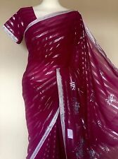 Indian Georgette Saree Sari With Readymade Blouse + Petticoat 10/12