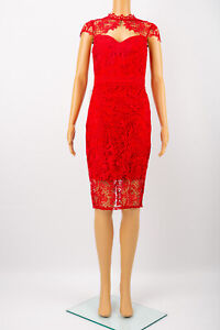 LIPSY LONDON VIP Red Lace Pencil Dress Size 6 Cut Out Neck Elegant Cocktail