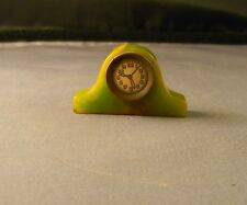 Vintage Art Deco Green BAKELITE Miniature Mantle CLOCK Pencil Sharpener