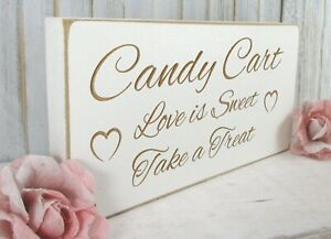 Candy Cart Wedding Sign Free Standing Vintage Shabby & Chic White Wooden