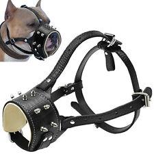 No Bite Bark Cool Spiked Studded Leather Dog Muzzle Mask for Pitbull Labrador