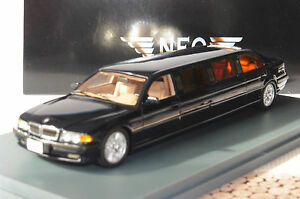 BMW 740D 7ER SERIES E38 STRETCH LIMOUSINE 1999 BLACK NEO 45345 1/43 SCHWARZ NOIR