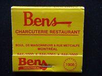 BENS CHARCUTERIE RESTAURANT MONTREAL 8441000 MATCHBOOK