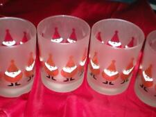 """NEW FOUR """"CULVER"""" BAR GLASSWARE CHRISTMAS """"FAT SANTA"""" DOF FROSTED and SIGNED"""