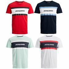 Jack & Jones Mens Block Logo Printed Tee Short Sleeve Crew Neck Casual T-Shirt