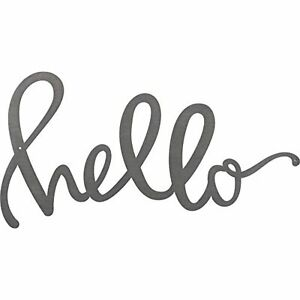 """Primitives by Kathy Hand Lettered Metal Word Wall Art Hello Sign 11"""" x 6"""" Hello"""