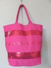 Victoria's Secret Tote Bag Pink Canvas Glitter Sequence Carry All Beach Shopper