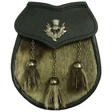 Men's Leather Kilt Sporran Semi Dress Seal Skin Thistle Crest/Scottish Sporrans