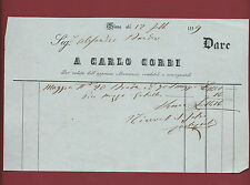 Antica Fattura Ottocentesca per Mercanzie di Carlo Corbi in Siena 1859