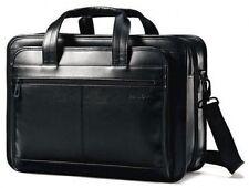 Samsonite Leather Expandable Laptop Briefcase - Black