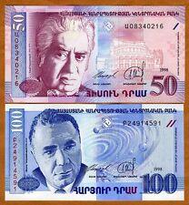 SET, Armenia, 50;100 dram, 1998, Picks 41-42, UNC > Composer, Astronomer