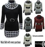 NEW WOMENS POLO NECK KNITTED JUMPER BELTED LONG SLEEVE LADIES DRESS SIZES 8-14
