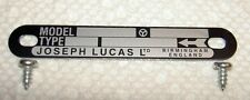 Lucas Competition Magneto BLACK ID plate counter clockwise with screws - NEW