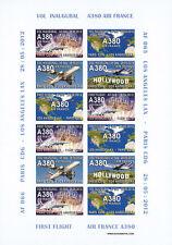 "RARE VIGNETTE AERIENNE ""Airbus A380 Air France 1er Vol Paris-Los Angeles"" 2012"