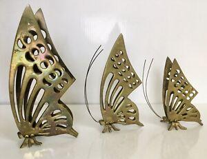 🦋 3 Vintage 70s 80s Brass Butterflies Decor Shelf Sitters Butterfly Figurines