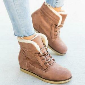 Ladies Ankle Boots Slope Heel High-Top Lace-Up Shoes Snow Boots Fashion Warmth