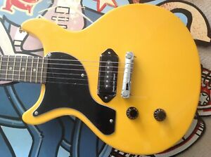 LEFT HANDED ANTORIA Guitar New Yorker Les Paul Junior Yellow With H/D Carry Bag
