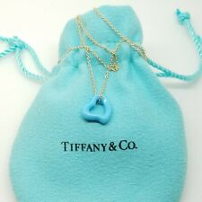 """Tiffany & Co. Peretti Turquoise Carved Open Small Heart Pendant 18k Necklace 16"""""""